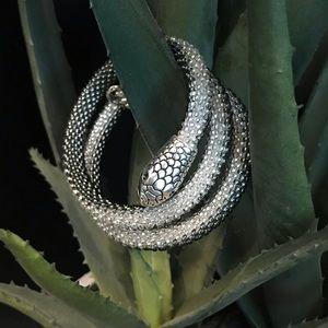 Layered Silver Gray Bead Seed Snake Head Bracelet